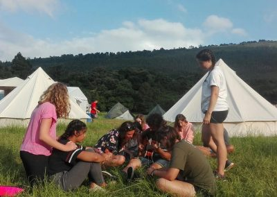 Campamento de verano en inglés, las tiendas